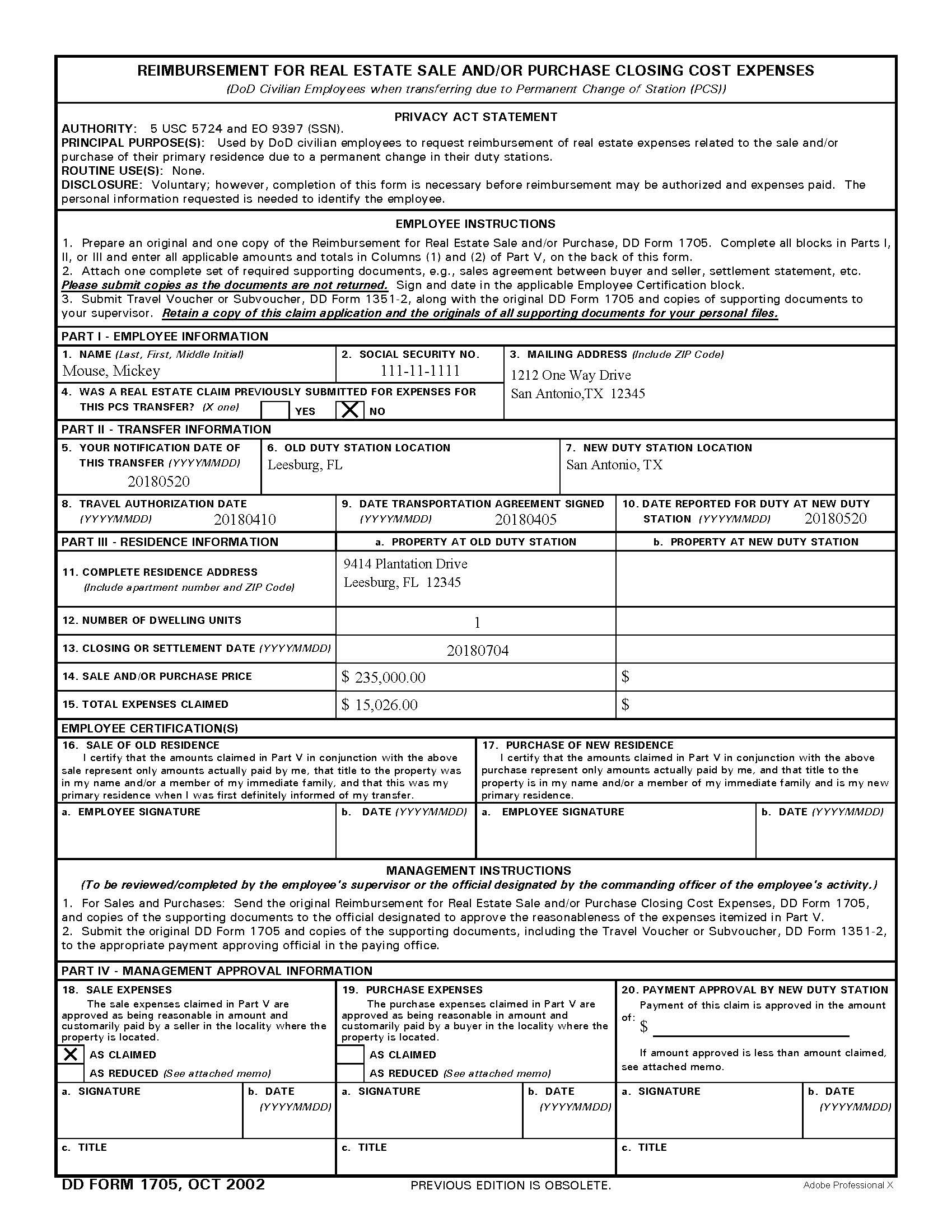 Real Estate Sale/Purchase Form 1705 filled out